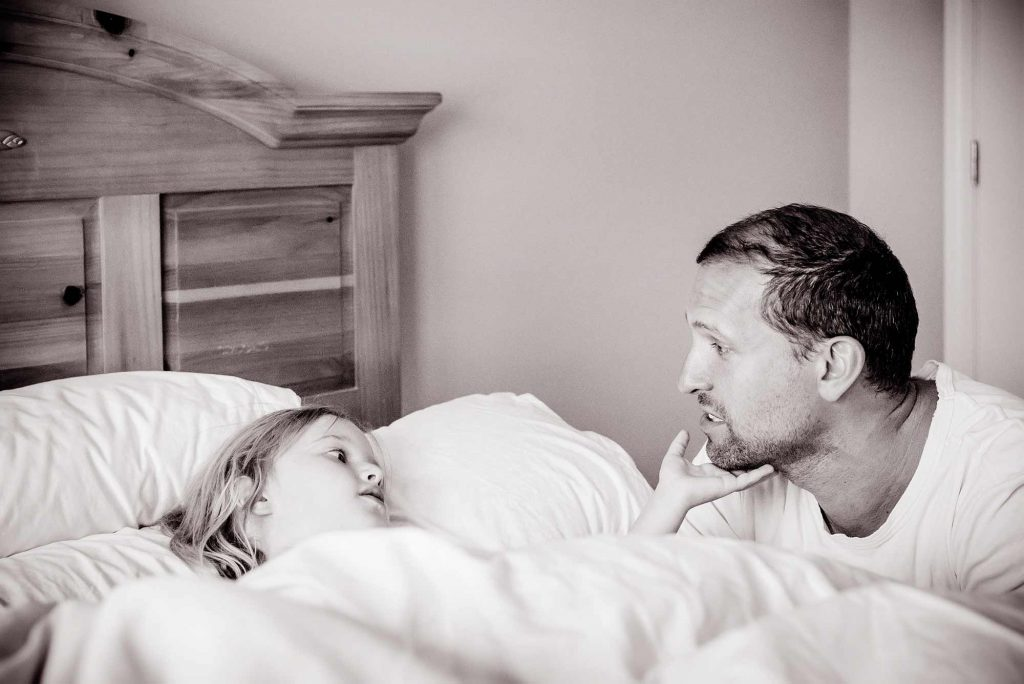 Little girl and dad in the morning